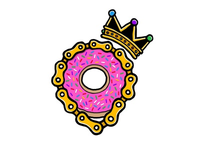 Fixed Kings Donut Race donut doughnut bike cycling logo wordmark flat typography sticker decal fixed gear fixie