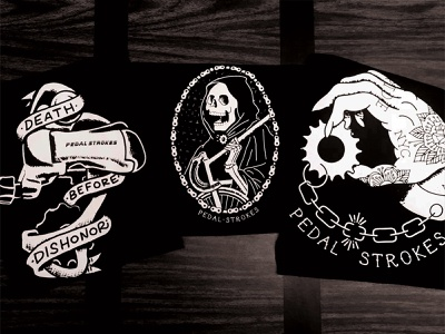 Pedal Strokes Tees procreate typography banner skeleton tattoo bike fixie cycling fixed gear