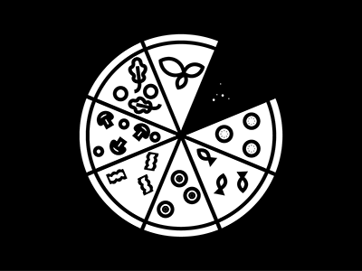 Pizza Party 01 toppings lines thicklines food vector white black blackwhite illustration pizza