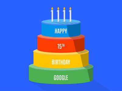 Happy Birthday Google 15 candle party red yellow green blue illustration binary cake birthday google