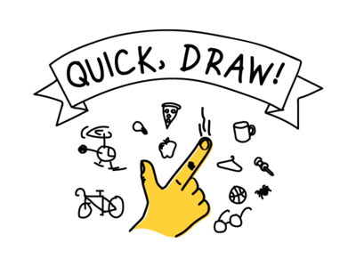 Quick Draw Logo line drawing illustration yellow icon finger google quick draw