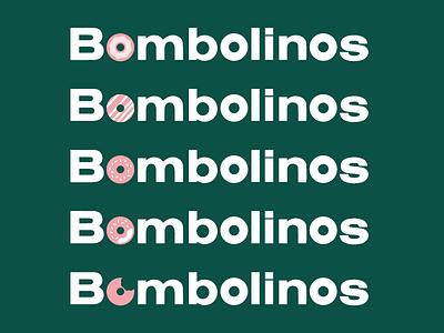 Bombolinos Logo typography pink green button suit donut bombolinos branding
