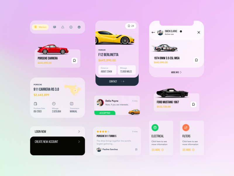 Car Marketplace Concept blur trend bigsur tmrw. visual tabbar design ux signup login concept daily ui elements card app ui marketplace car