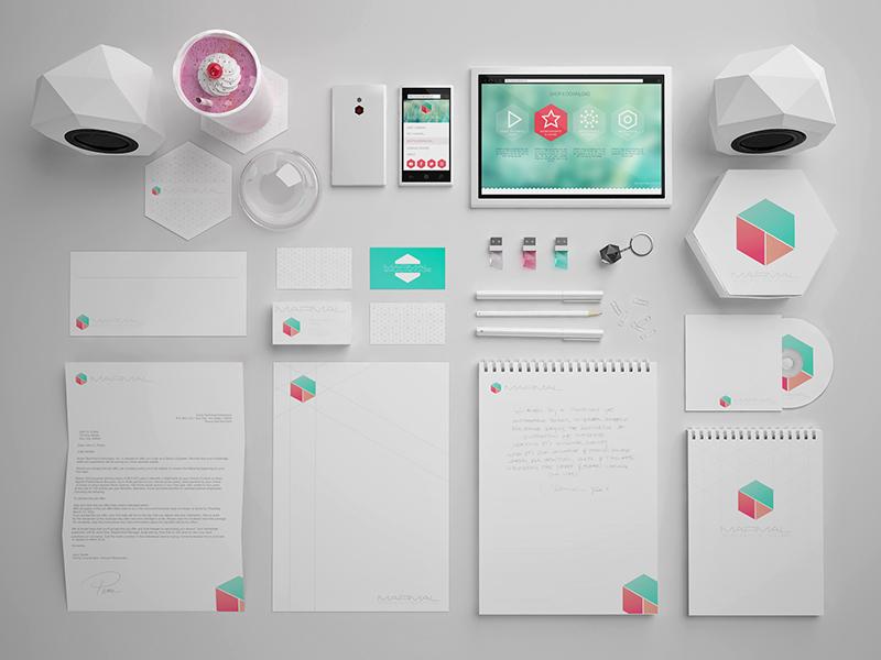 Marmal Brand Identity hexagon flat software 3d maya vray marmal identity brand ui web white