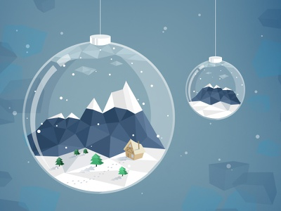 All we need is snow low poly illustration vector flat winter snow mountain lowpoly landscape glass ball faceted