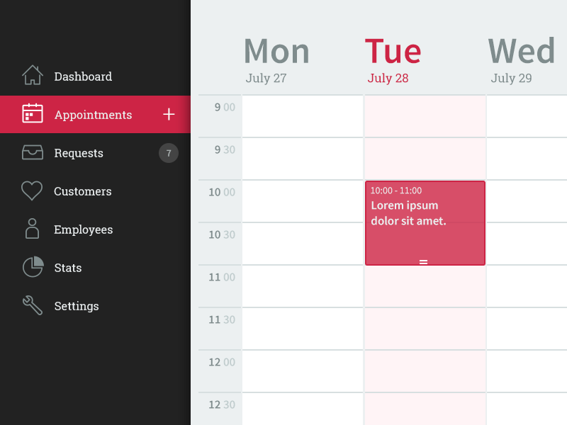 Appointments Calendar system administration ui appointments calendar