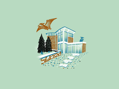 Mid Century Dinos - 01 procreate mid century midcentury design dinosaurs science texture editorial illustration editorial illustration