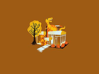 Mid Century Dinos - 05 midcentury procreate dinosaur science texture editorial illustration editorial illustration