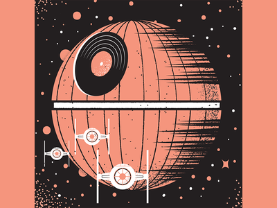 May the 4th tiefighter deathstar maythe4thbewithyou maythe4th starwars vinyl record texture editorial illustration editorial illustration
