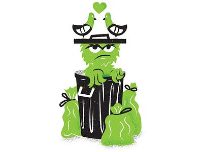 PLANET PULP - APRIL! oscar the grouch planet pulp jim henson sesame street texture editorial illustration editorial illustration