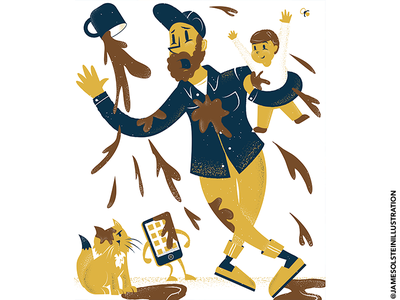 Self-portrait procreate illustrator cat coffee dad texture editorial illustration editorial illustration
