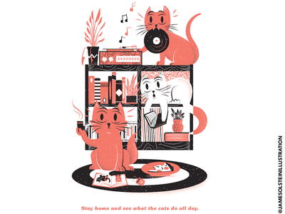 EraseCovid 03 stayhome records cats cat erasecovid covid19 print poster editorial illustration editorial illustration