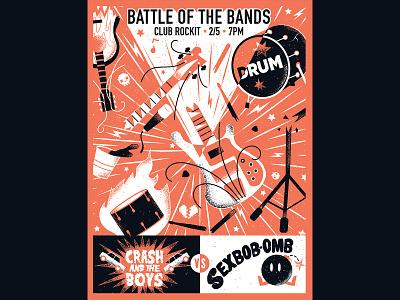 Battle of the Bands - Scott Pilgrim sexbobomb scott pilgrim gallery1988 screenprint poster texture editorial illustration