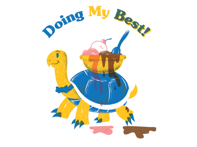 Doing My Best texture screenprint turtle editorial illustration editorial illustration