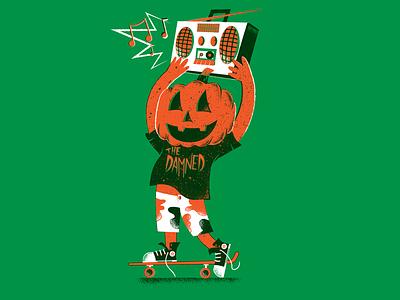 Halloween 2020 skateboard pumkin thedamned halloween 2020 editorial illustration editorial illustration