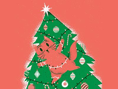 Happy Holidays 2020 christmas tree cat x-mas christmas texture editorial illustration editorial illustration