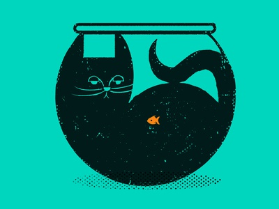 Cat bowl illustration cat goldfish