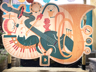 Mural for Mister John's Music cat music mural design editorial illustration
