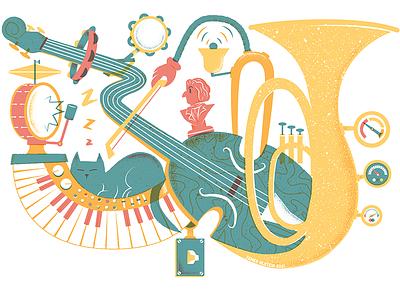 Design for Mister John's Music mural bestofdribbble excellent cat music design mural editorial illustration editorial illustration