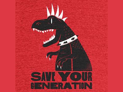 Save Your Generation trex jawbreaker punk dinosaur texture editorial illustration editorial illustration
