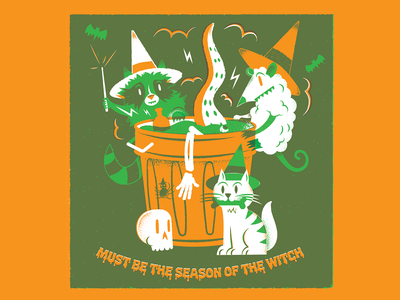 Must be the Season of the Witch. trash garbage can spooky cat possum raccon halloween texture editorial illustration editorial illustration