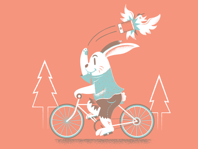 Get Outside nature bike bunny texture editorial illustration editorial illustration