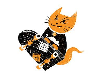 Skate Cat illustration cat descendents punk rock skateboard