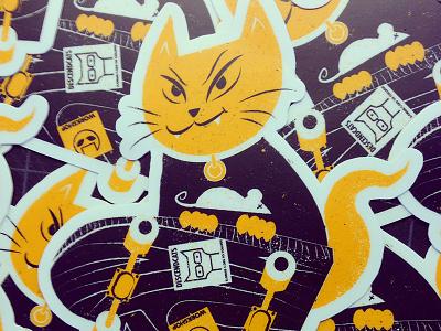 Cat stickers illustration cat descendents punk rock skateboard