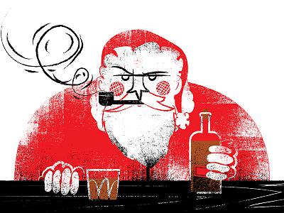 Santa w/whisky illustration whisky santa christmas