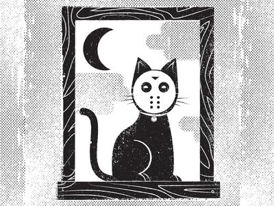 Happy Friday the 13th illustration cat hockey mask friday the 13th