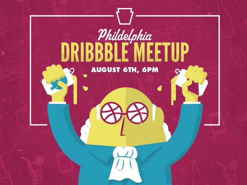 Summer Dribbble Philadelphia Meetup dribbblephillymeetup phldesign ben franklin philly philadelphia illustration meetup event dribbble