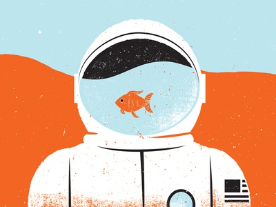 Illustrated Science Water on Mars goldfish water mars astronaut editorial illustration editorial illustrated science illustraion