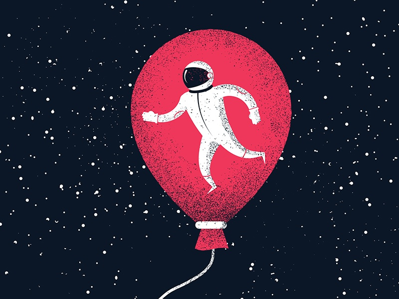 Illustrated Science 131  illustrated science astronaut balloon space science texture grain graphicdesign art illustration