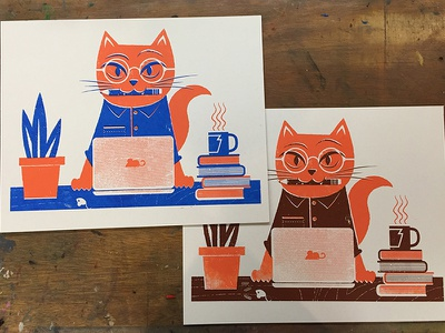 Cat Prints planned parenthood nerd art print shop cat screen print editorial illustration