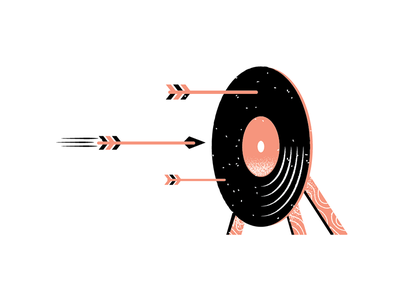Records 17 vinyl record arrow bullseye design grain philadelphia texture editorial illustration editorial illustration