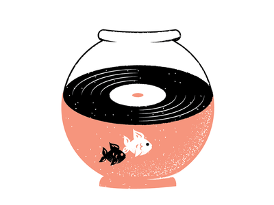 Records 18 vinyl record fishbowl goldfish fish grain philadelphia texture editorial illustration editorial illustration