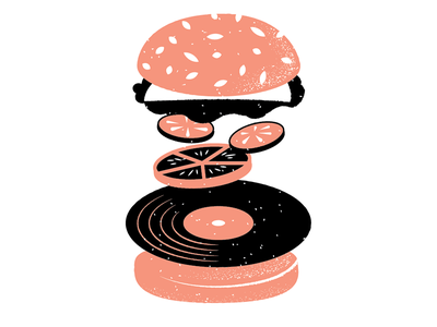 Records 21 record vinyl food burger philadelphia grain texture editorial illustration editorial illustration