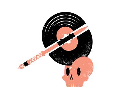 Records 23 vinyl record skull axe grain philadelphia texture editorial illustration editorial illustration