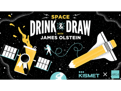 Drink Draw w/James Olstein odd science illustrated science design vector drinkanddraw beer space springarts phldesign philadelphia grain texture science editorial illustration editorial illustration