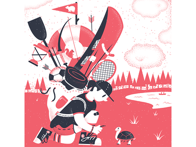 Ten Paces Draw September 2019 summercamp camp 10 paces draw texture editorial illustration editorial illustration