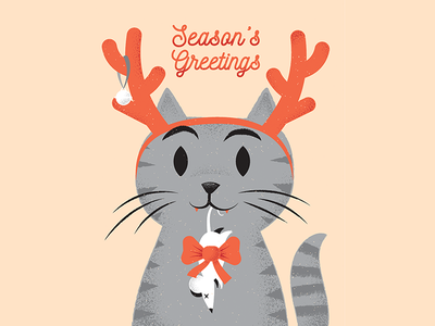 Groundswell Greetings Holiday Card front greetingcard xmas holidays cat texture editorial illustration editorial illustration