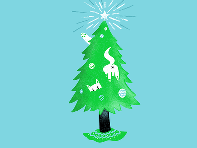 12 days of Cat-mas -01 christmas holidays cats texture editorial illustration editorial illustration