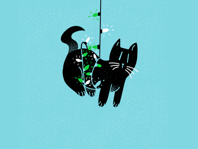 12 days of Cat-mas -04 texture christmas holiday cats editorial illustration editorial illustration