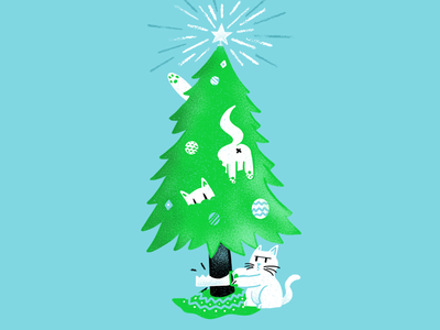 12 days of Cat-mas -07 cats holiday christmas editorial illustration editorial illustration