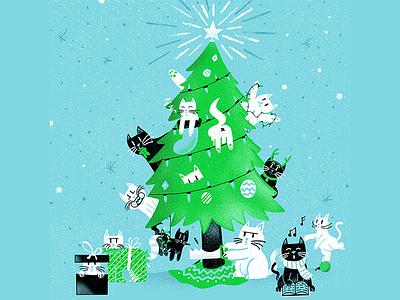 12 days of Cat-mas - Happy Holidays! christmas cats editorial illustration editorial illustration
