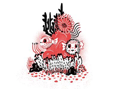 Sea Creatures - 02 underwater ocean blowfish procreate texture editorial illustration editorial illustration