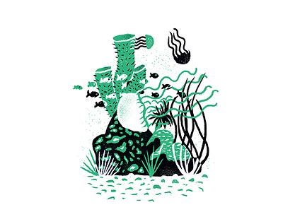 Sea Creatures - 03 jellyfish ocean underwater procreate texture editorial illustration editorial illustration
