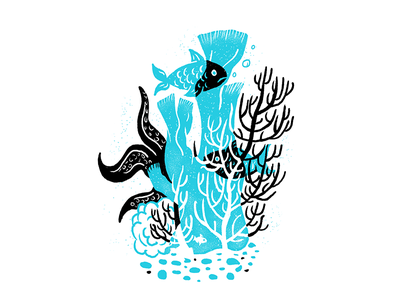 Sea Creatures - 05 underwater ocean procreate fish texture editorial illustration editorial illustration