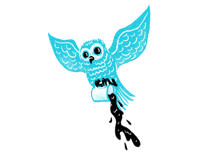 Late Night Coffee procreate coffee owl texture editorial illustration editorial illustration