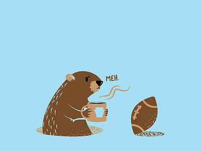 Groundhog Day 2020 procreateapp football groundhog procreate texture editorial illustration editorial illustration